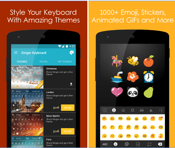 Ginger Keyboard app