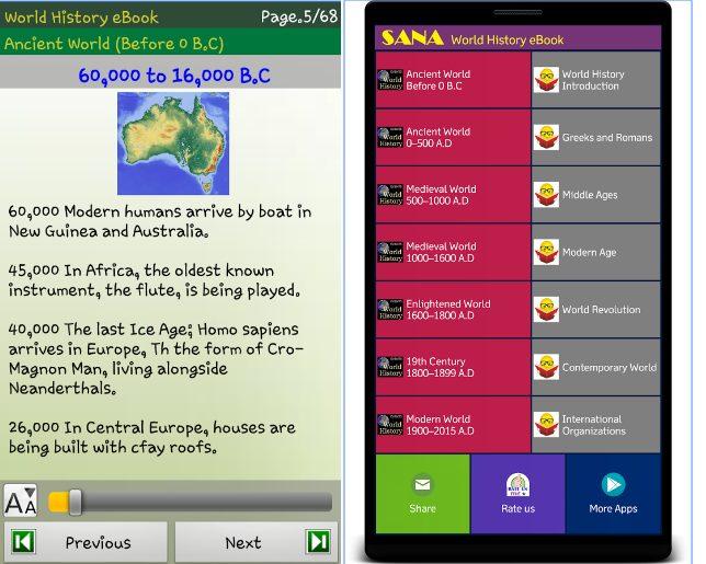 World History Quick e-Book app