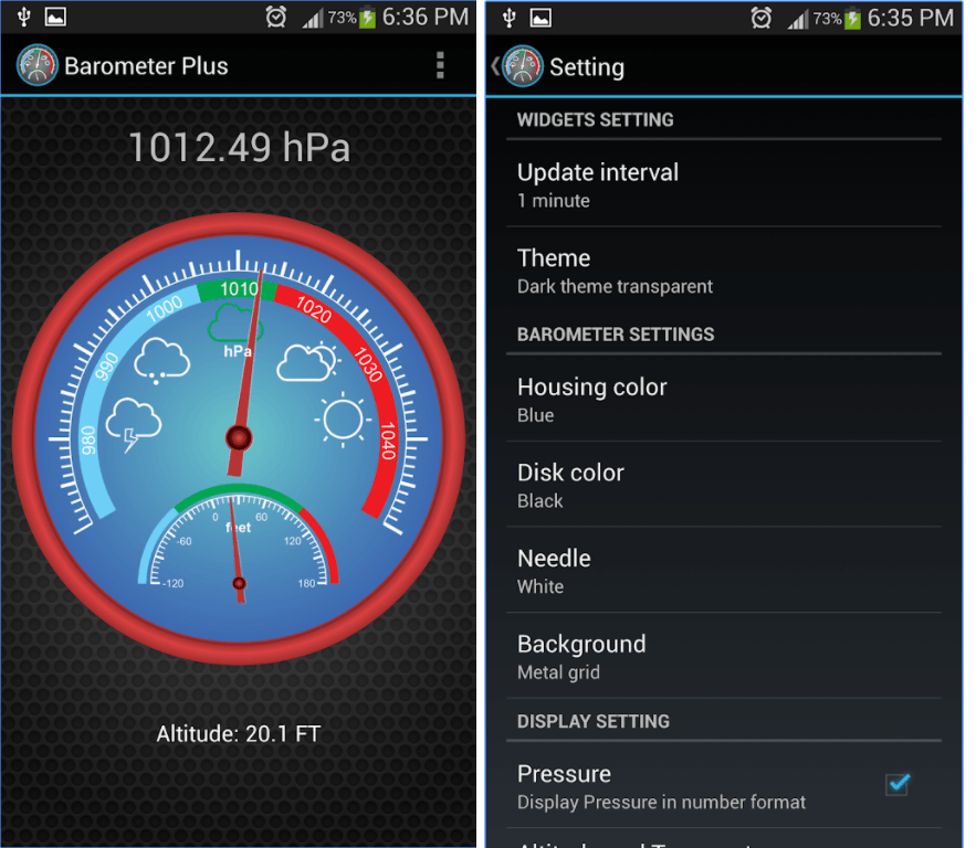 11 best barometric pressure apps for android android for Barometric pressure app for fishing
