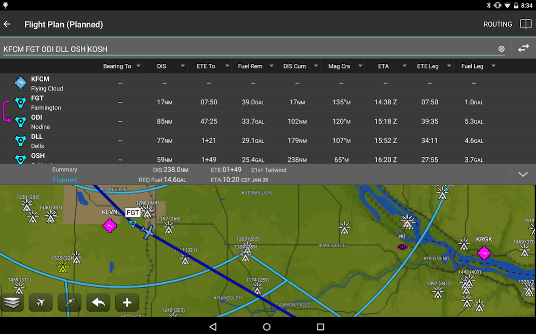 Garmin Pilot application
