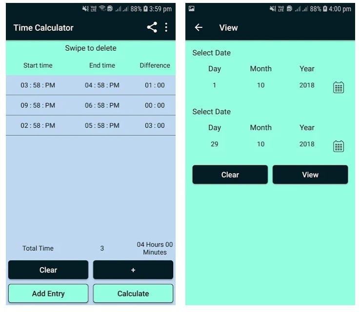Time Calculator Timesheet, Hours & Minutes Between