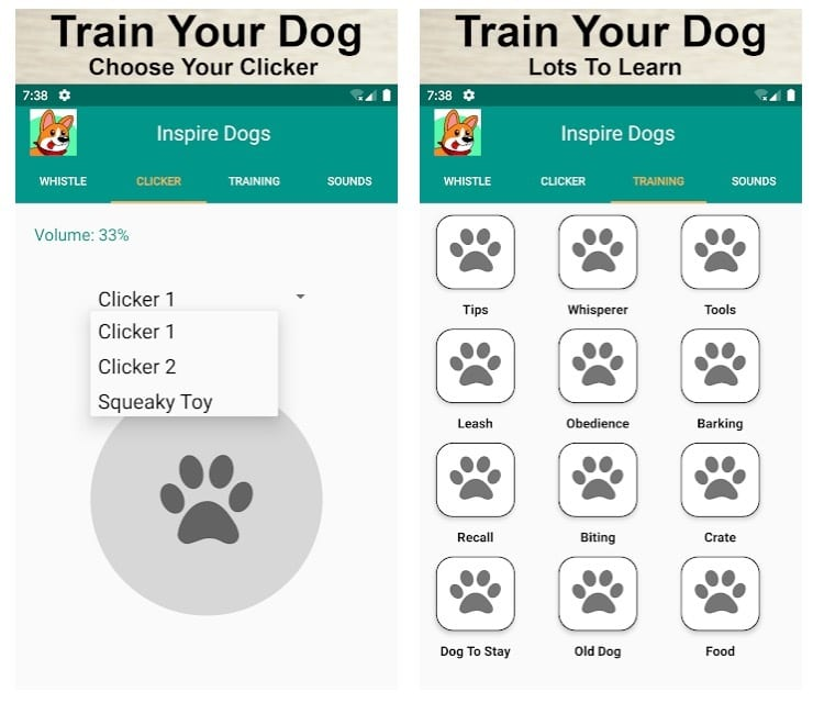 Dog Training, Whistle, Clicker and Sounds