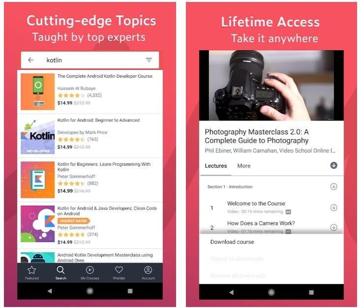 Udemy app