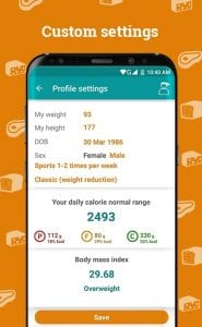 Calorie counter screen 2
