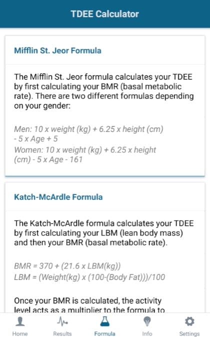 TDEE & Calorie Intake Calculator app